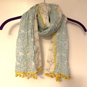 Carnaby Disaster Designs scarf with yellow pompoms